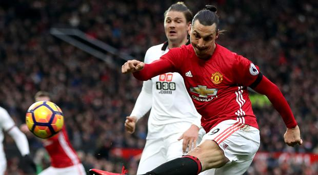 Zlatan Ibrahimovic tries - and fails - to score for Manchester United against Watford