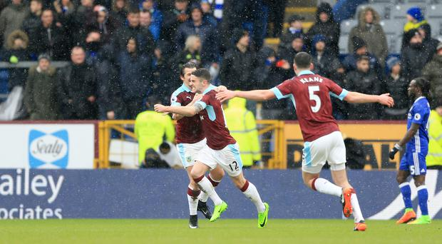 Robbie Brady, centre, is congratulated after his brilliant equaliser at Turf Moor