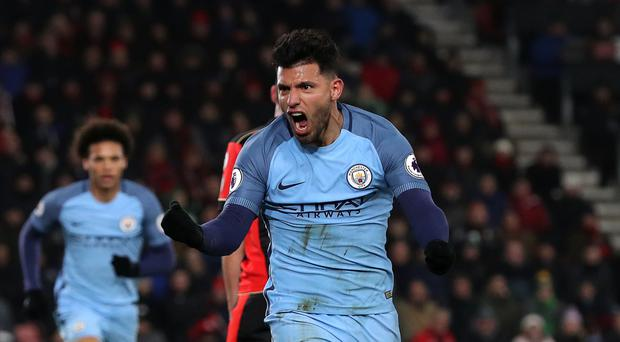 Manchester City's Sergio Aguero contributed to their second goal in the 2-0 win at Bournemouth