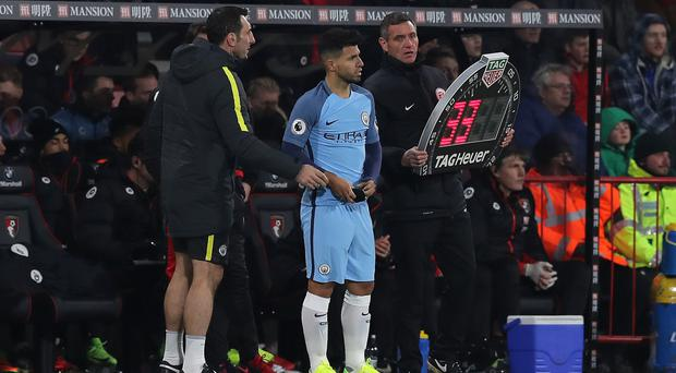 Sergio Aguero came on in the early stages of Monday's game