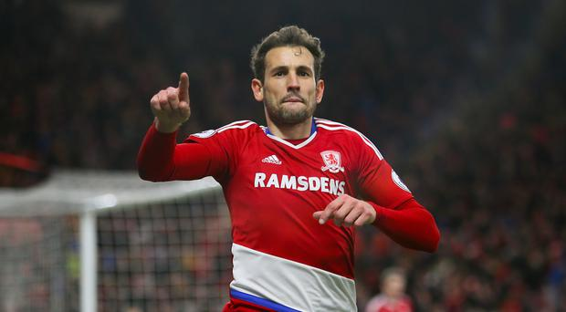 Substitute Cristhian Stuani fired Middlesbrough into the FA Cup quarter-finals