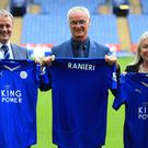 Leicester director of football Jon Rudkin (left), Claudio Ranieri (centre) and CEO Susan Wheeler on the day the Italian was appointed