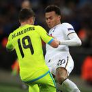 Dele Alli was sent off for a dangerous tackle on Gent's Brecht Dejaegere