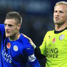 Jamie Vardy, left, has joined Kasper Schmeichel is denying involvement in Claudio Ranieri's sacking