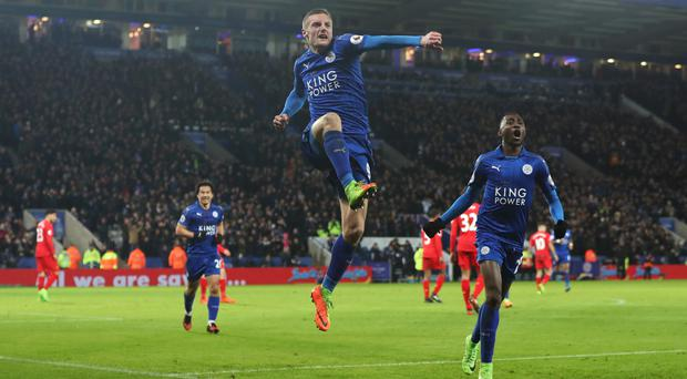 Jamie Vardy was at the double for Leicester