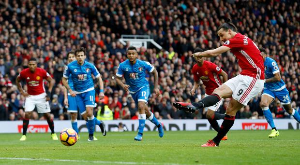 Zlatan Ibrahimovic had a penalty saved during an action-packed afternoon at Old Trafford