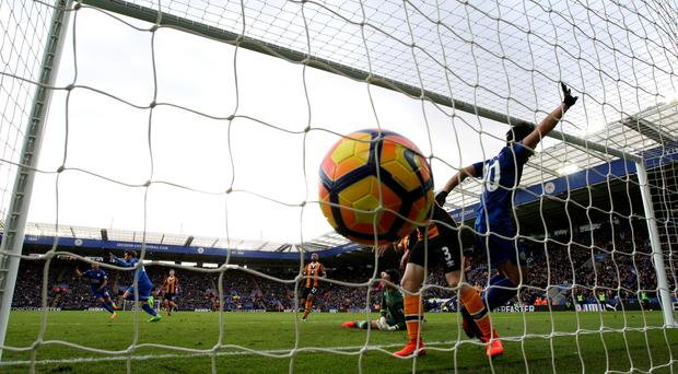 The ball hits the back of Hull's net as Leicester equalise