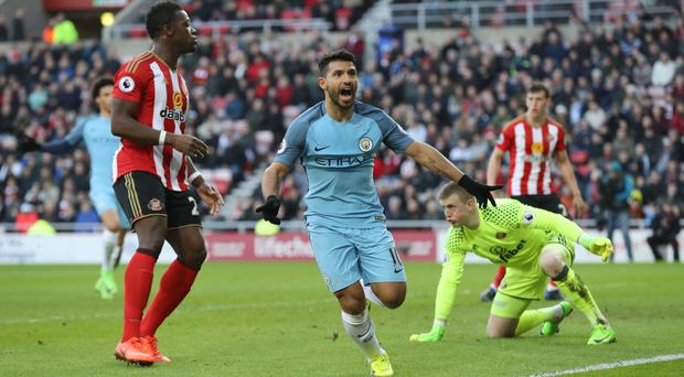 Sergio Aguero opened the scoring at the Stadium of Light
