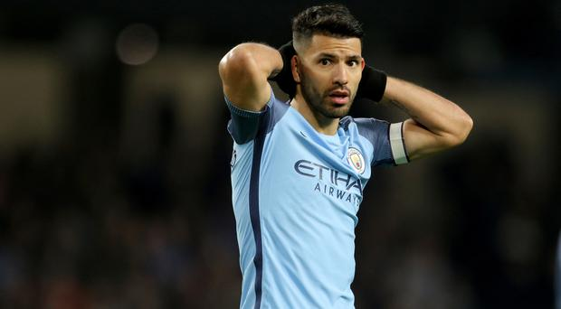 Sergio Aguero was unable to find the net as Manchester City were held to a goalless draw by Stoke