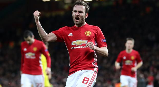 Juan Mata celebrates Thursday's winner against Rostov