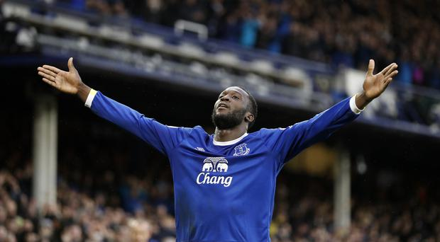 Everton's Romelu Lukaku celebrates the first of his two goals