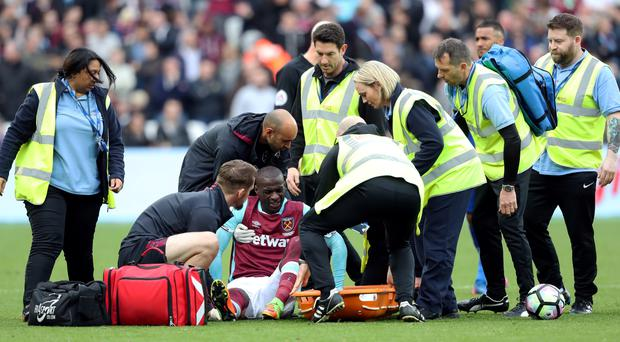 Pedro Obiang was injured against Leicester