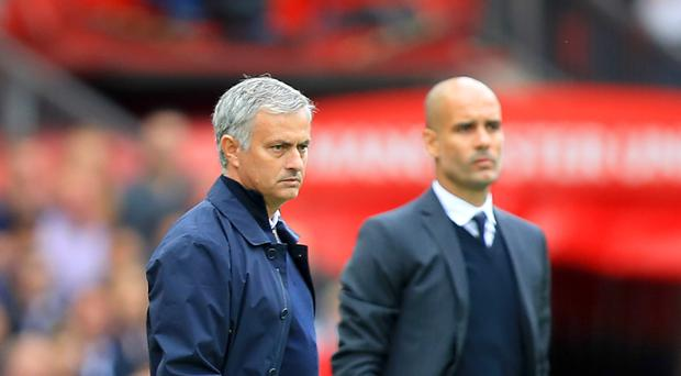Manchester United manager Jose Mourinho, left, and Manchester City boss Pep Guardiola, right, are set to clash in pre-season preparation tonight