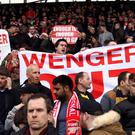 Protests against Arsenal manager Arsene Wenger continued during Saturday's defeat at West Brom
