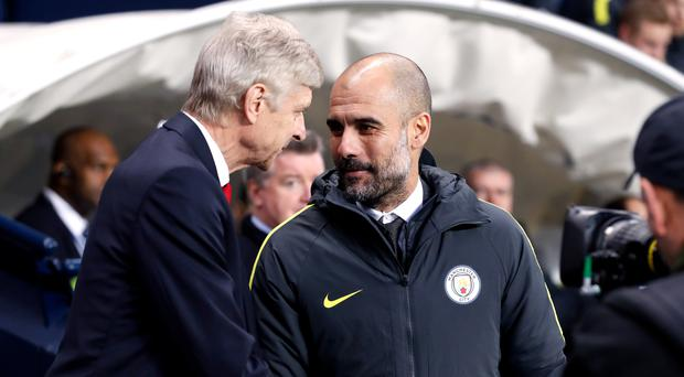 Pep Guardiola, right, has held the upper hand against Arsene Wenger more often than not in meetings between the two