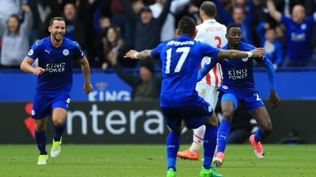 Leicester's Wilfred Ndidi celebrates opening the scoring in their 2-0 win over Stoke