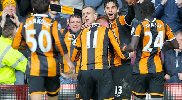 Andrea Ranocchia headed his first goal for Hull in the game at the KC Stadium.