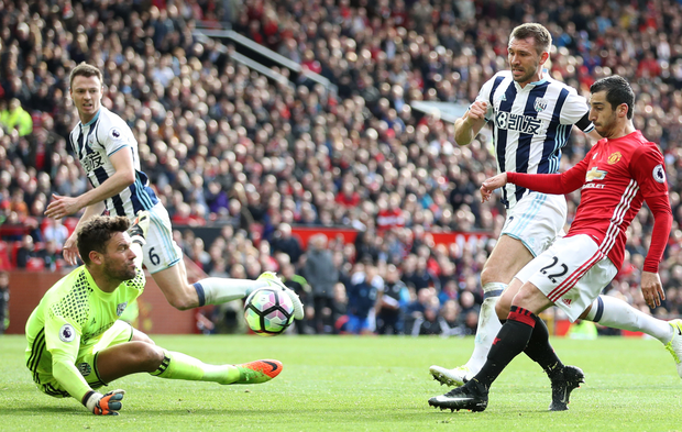 West Brom goalkeeper Ben Foster makes a save in a man-of-the-match performance.