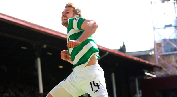 Stuart Armstrong celebrates after scoring Celtic's third goal at Tynecastle Photo: Ian MacNicol/Getty Images