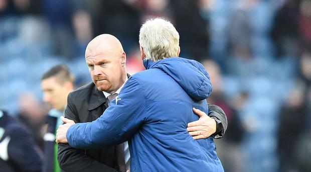 Sean Dyche, left, does not envisage being the next Arsenal boss