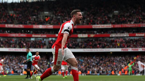 Skhodran Mustafi scored Arsenal's second equaliser in Sunday's draw with Manchester City