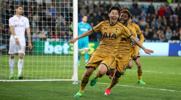 Son Heung-min celebrates Spurs' second goal