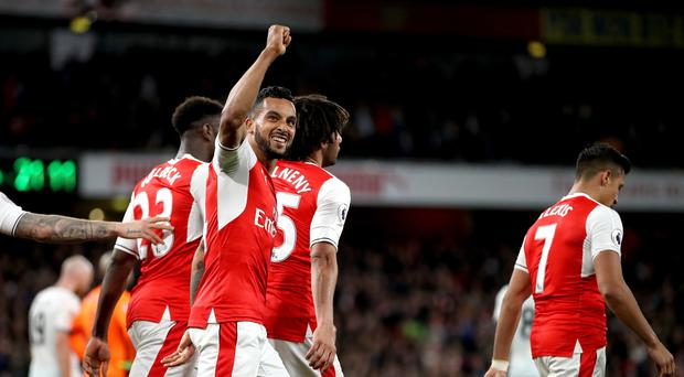 Theo Walcott scored Arsenal's second as they beat West Ham 3-0 on Wednesday night