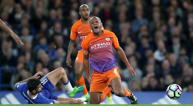 Diego Costa, left and Vincent Kompany, right, clashed on Wednesday