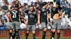 Jordy Clasie, centre, celebrates his first league goal for Southampton