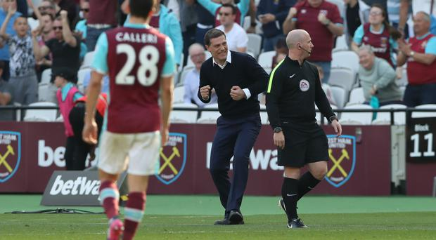 Slaven Bilic finally had something to celebrate after West Ham beat Swansea