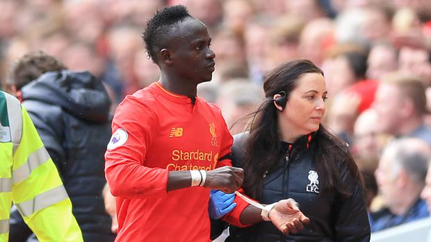 Sadio Mane comes off injured during the Merseyside derby earlier this month