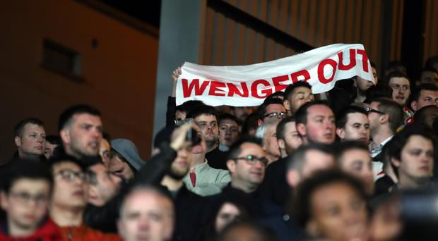 Arsenal fans have repeatedly urged Arsene Wenger to leave Arsenal this season