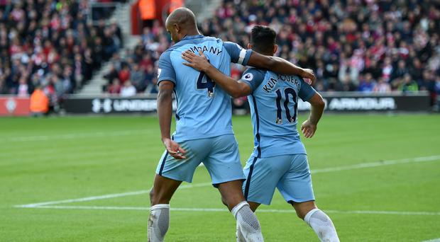 Vincent Kompany and Sergio Aguero were both on the scoresheet