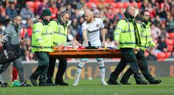Sunderland's Billy Jones left the field on a stretcher against West Ham