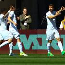 Fernando Llorente celebrates scoring Swansea's opener in their Premier League victory against Stoke.