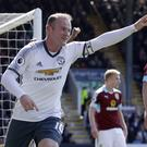 Wayne Rooney celebrates scoring against Burnley on Sunday