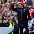 Crystal Palace manager Sam Allardyce celebrates his side's first goal in a 2-1 win over Liverpool