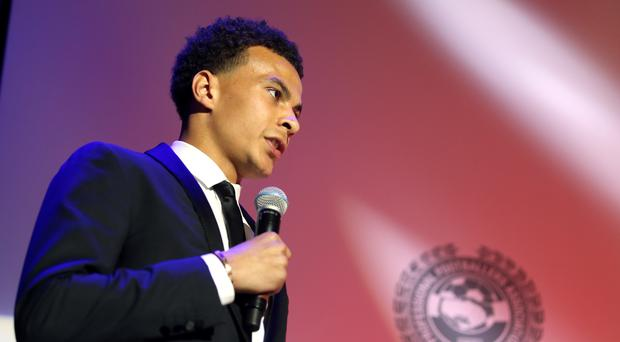 Dele Alli receives the Young Player of the Year Award during the Professional Footballers' Association Awards 2017 at the Grosvenor House Hotel, London.