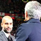 Pep Guardiola, left, and Jose Mourinho, right, are set to meet again in the Manchester derby on Thursday