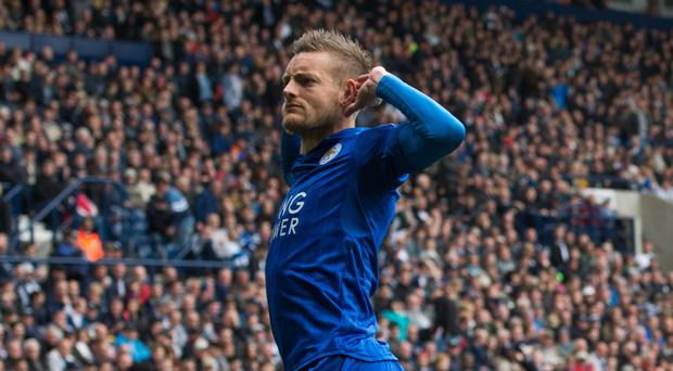 Leicester's Jamie Vardy scored against West Brom