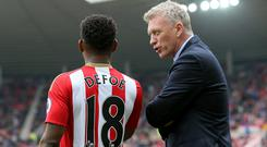 David Moyes, right, was powerless to prevent relegation as Sunderland relied too heavily on Jermain Defoe