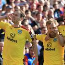 Ashley Barnes, left, and Andre Gray were on target for Burnley