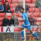 Joshua King scores the goal that confirmed Sunderland's relegation at a sparsely seated Stadium of Light.
