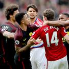 Tempers flare between Manchester City's Gabriel Jesus (centre) and Middlesbrough's Marten de Roon