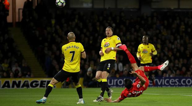 Emre Can's acrobatci finish saw Liverpool earn a 1-0 win against Watford