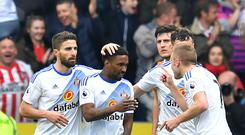 Sunderland's Jermain Defoe (centre) celebrates scoring his side's second goal against Hull