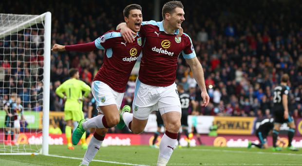 Sam Vokes, right, scored twice for Burnley