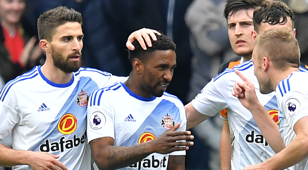 Sunderland's Jermain Defoe celebrates scoring his side's second goal against Hull. Photo: PA Wire
