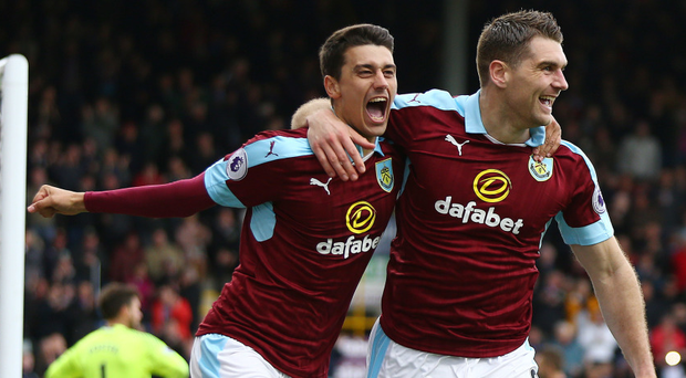Sam Vokes, right, scored twice for Burnley. Photo: PA Wire