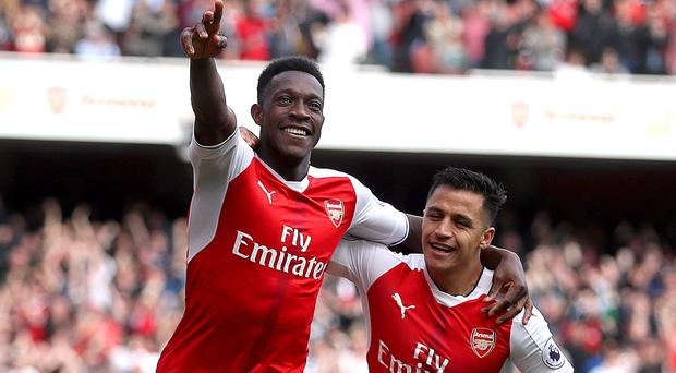Danny Welbeck celebrates Arsenal's second of the afternoon